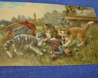 Antique Postcard Cats and Doll and overturned doll carriage Unused