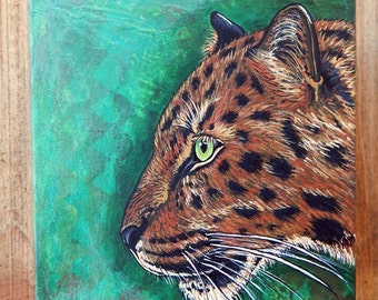 LEOPARD Mixed Media Paintings Jaguar Original Art Totem Animals Spirit Guides Wildlife ART Big Cat Artwork Lotus and Nightshade