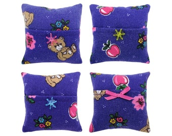 Purple Tooth Fairy Pillow with pocket, flower & bear print fabric for girls, choice of trim
