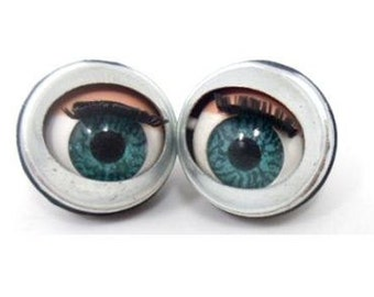 Pair doll sleepy Winking flirty blinking metal blue eyes 20mm