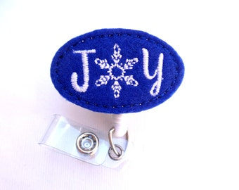 SALE - Christmas badge reel - Retractable Badge Holder nurse badge reel - JOY dark royal blue felt - medical badge reel holiday snowflake