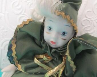 VINTAGE CLOWN DOLL Carnival Circus Porcelain Doll Green