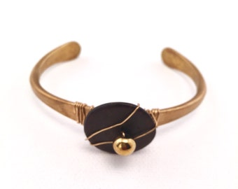 Modern Upcycled Wood Circle & Hematite Bead Wire Wrapped Bracelet