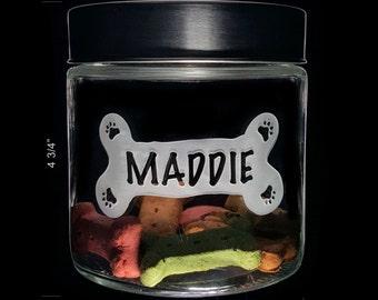 Pet TREAT JARS - Pet Name in 'BONE' Crest - Dog Treat Jar - Cat Treat Jar - Generous 25oz Custom Etched Pet Treat Jar