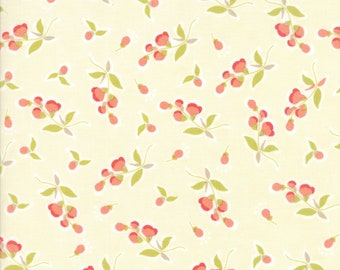 Moda Coney Island Fabric Cream Fig Tree Fabric Medium Cream Floral Quilting Fabric By The 1/2 Yard