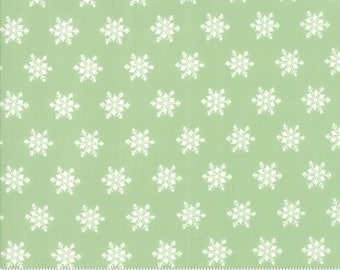 Moda Sugar Plum Christmas Fabric - Green Christmas Fabric - Green Snowflake Quilting Fabric By The 1/2 Yard