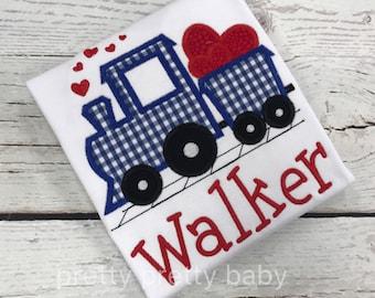 pretty preppy Valentine train applique shirt, gingham train, Valentine's Day shirt