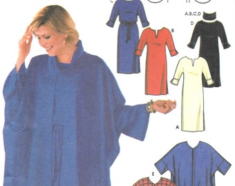 Simplicity 9870  Easy Chic Pullover Dress and Cape Size 6, 8, 10, 12 UNCUT Sewing Pattern