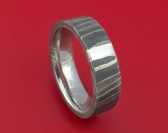 Damascus Steel and Palladium Ring Custom Made Band