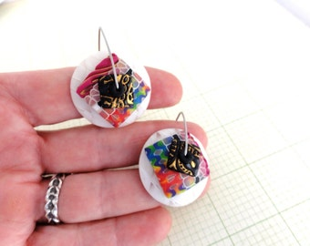 """Disk Earrings """"Sno Cones"""" by Marie Segal stainless wires and original design"""