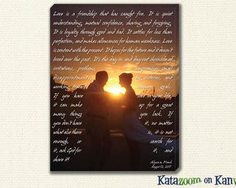 Wedding Vows Canvas  -  Your Vows on a Custom Canvas Printed Digitally Printed