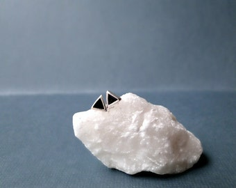 Tiny triangle studs, silver triangle post earrings