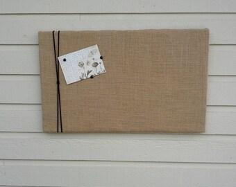 Burlap pinboard with macrame cord or Jute Twine, Vision or Bulletin Board, Natural buralp Photo Memory Board, Memo Pin Board, 16 x 26 inches