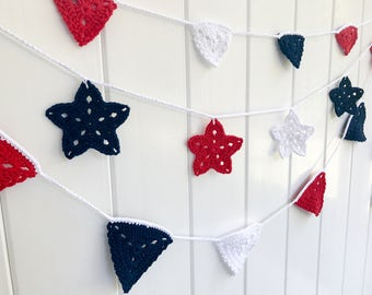 Small Red, White and Blue Crochet Garland | Bunting