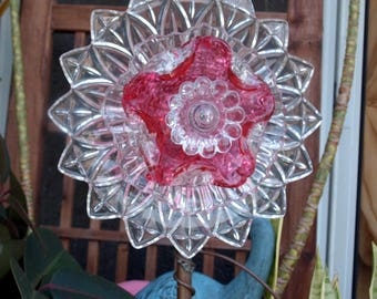 Rose Pink Fuschia Depression Federal Petal Glass Repurpose Plate Flower