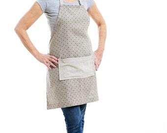 Linen Apron Handmade by Katherine Sheetz polka dots