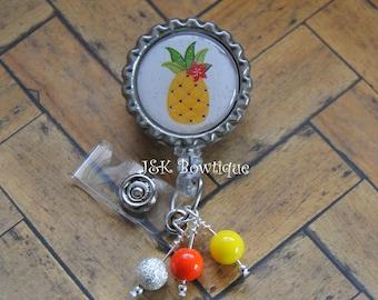 Pineapple, Badge Retractable Reel....id holder....teacher....doctor....nurse..summer time, badge clip