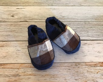 Blue and Brown Plaid Baby Shoes  - Size 6-12 Months