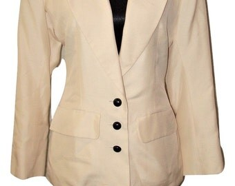 Vintage Yves Saint Laurent YSL 100% Cream Silk Skirt Suit ~ Sz 40/US 8