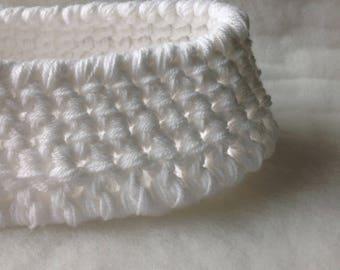 White baby basket photo prop Baby nest Photo Prop Newborn Blanket White Baptism cocoon Swaddle Sack Crochet Infant prop Photography Prop