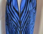 "Lovely Blue Black Zebra Silk Scarf // 11"" x 52"" Long // Best of the Best"