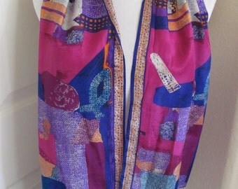 "Scarf Designer Lovely Colorful Pink Purple Silk Scarf // 10"" x 50"" Long"