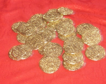 Wholesale Lot of 25 Solid Pewter GOLD Tone Pirate Coins