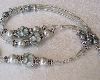 Beaded Lanyard Breakaway Lanyard ID Badge Holder Silver Moon Gray Grey Magnetic Break Away