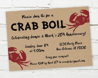 Printable Digital File - Crab Boil Invitation - Customizable - Low Country, Kraft Paper, Engagement Party, Birthday, Shower, Seafood, South