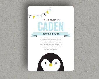 "CUSTOM PRINTABLE PENGUIN Invitation for birthday party, digital download file invite, at 5x7"" size."