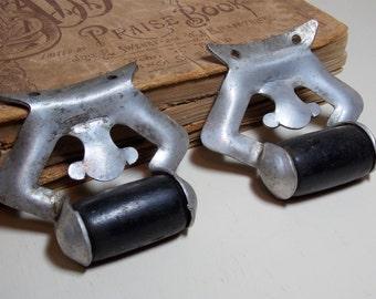 Silver Metal and Black Wood Drawer Pull Handles