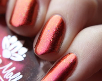 "Nail polish - ""Over Drive"" Red to orange duochrome with multichrome flakes"