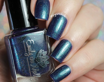 "Nail polish - ""Twenty Second Dynasty"" Dark blurple with teal green shimmer"