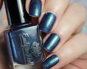 "Nail polish - ""Twenty Second Dynasty"" Dark blurple with teal green shimmer"