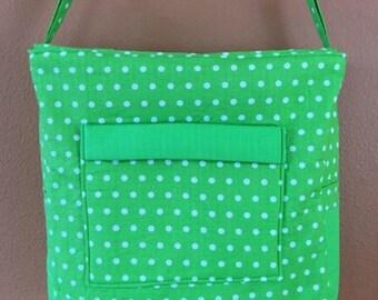 Breezy #04 Green Polka Dot Knitting Bag, Zippered Knitting Tote, Zippered Knit Project Bag, Knitters, Large Knitting Bag, Crocket and Knit