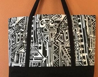 Cher #18  Black and White Tote, Tribal Fabric Tote, Knitting Bag, Knitting Tote, Project Bag, Knitting Project Bag, Handbag, Messenger Bag