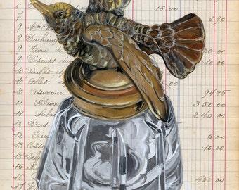 Giclée Print Hummingbird Inkwell in Gouache