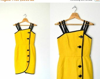 HUGE SPRING SALE Vintage 80s Bright yellow Sundress New Wave Silk dress A.J. Bari / size small