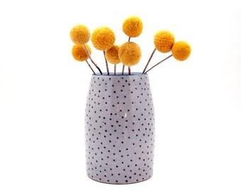 Ceramic Blue Lipped Polka Dot Vase