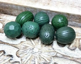 Bottle Green Bead set for jewelry making, Polymer Clay Bead, Organic Rustic Style beads, Hand Carved Beads, Textured Petrolium Green Beads
