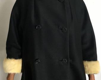 Stunning Vintage 50s Black Coture w/mink Collar,Cuffs