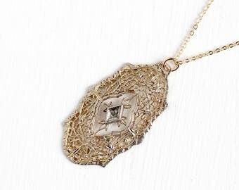 Antique Art Deco 12k Gold Filled Diamond Filigree Lavalier Pendant Necklace - Vintage 1920s 1930s Yellow Gold Flower Embossed Jewelry