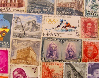 Hola Guapa 50 Vintage Spanish Postage Stamps Spain España Madrid Barcelona BCN Sevilla Castillian Catalan Europe EU Worldwide Philately