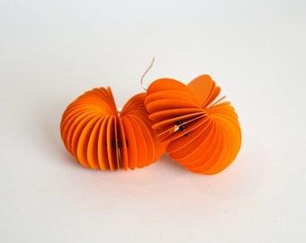 orange: Dangle Earrings CARTA made of paper