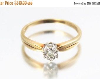 XMAS SALE Vintage Ladies Diamond Solitaire Ring Wedding Engagement 9ct 9k Yellow Gold | FREE Shipping | Size N.5 / 7