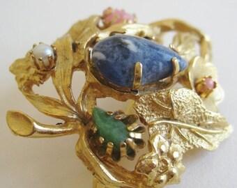 WINTER SALE Vintage 60s Designer Gold Jeweled Leaf Floral Brooch Pin