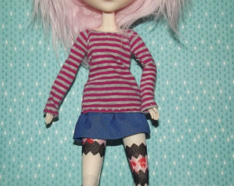 Red and grey gray stripped long sleeve shirt for pullip