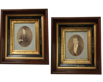 Antique Pair Eastlake Incised Frames with Photos circa 1870s Victorian Era