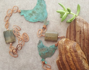 Chicken Wind Chime - Copper Wind Chime - Green Chicken Chime - Wind Chimes - Chicken Lover - Hen Lover - Gift for her - Garden decor