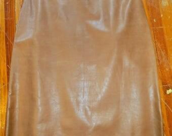 SALE Calvin Klein 1200 Never Worn Camel Leather Skirt, 10